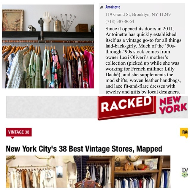 Woohoo we made the 2014 @rackedny #38 Best NYC Vintage Stores! 👍⭐️ #antoinettevintage #rackedny #nyc #vintage #madeinusa #oneofakind #bestvintagestores #williamsburg #brooklyn  (at Antoinette)
