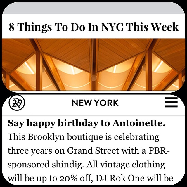 Even R29 knows where all the cool kids will be this Thursday! Thanks for the ❤️ @refinery29 ! #antoinettevintage #vintage #Refinery29 #williamsburg #brooklyn #pbr #pabstblueribbon #thriftandstyle  (at Antoinette)