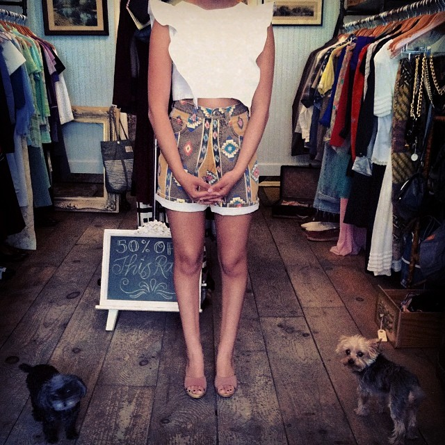 """How adorbs is our little shop neighbor!? She's modeling for us the @viva_aviva #MagnoliaCropTop $125 size S &  our #vintage southwestern high waisted shorts size 2 $50 & wooden """"Candies"""" mules $40 size 7 (Tiny doggies not for sale!) #antoinettevintage #vivaaviva #williamsburg #brooklyn #madeinusa #ootd #oneofkind #thriftandstyle  (at Antoinette)"""