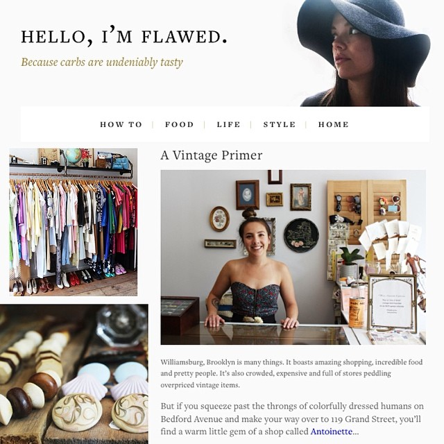 Brooklyn babe @carolinecala featured the shop in her blog this week…you heard it here first she will be this year's BK blogger to follow! 👌💯⭐️#HelloImFlawed #antoinettevintage #vintage #brooklyn #williamsburg  #brooklynstyle #BrooklynBlogger (at Antoinette) #Events