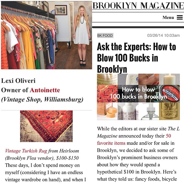 Check out our head #antoinettebabe in @brooklynmagazine & how she spends $100 in The BK! #antoinettevintage #vintage #Heirloomrugs #brooklynflea #brooklyn #williamsburg #vintagerugs #brooklynmagazine #thelmagazine (at Antoinette)