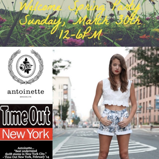 Come join us this Sunday, March 30th for our Spring event. We're serving cocktails from 12-6pm. Have a glass with us and get 10% off your entire purchase.  New @thebrooklynsuspenderco. pieces & @ninaznyc #clogs will be in store!  We're on @Pinterest …check out what we're crushing on and get a special discount! #antoinettevintage #vintage #ninazclogs #thebrooklynsuspenderco #brooklyn #williamsburg #madeinusa #madeinbrooklyn #springparty #timeoutny #pinterest (at Antoinette)