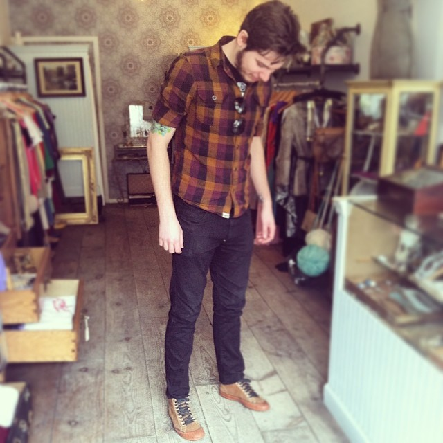 This handsome dude @collinepsteinart is celebrating #wednesdaymensday in his #vintagekeds he just scored at the shop today! #antoinettevintage #antoinettebabe #vintage #brooklyn #williamsburg #thriftandstyle #streetstyle #madeinusa #oneofakind #60s #1960s #vintagemens (at Antoinette)