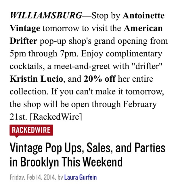 Don't forget the @americandriftervintage Pop-Up is tomorrow! Thanks for the ❤️ @rackedny ! (at Antoinette)