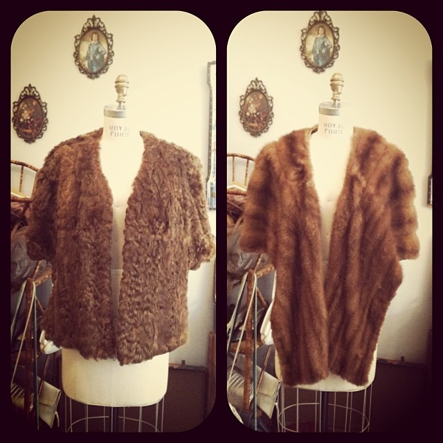 #Vintage 1960's capes, faux fur (left) $100 & fur w/pockets (right) $150 -Part of the proceeds will be donated to support #BarcAnimalShelter 's Valentine's Day Dinner Dance at Red Star Bar in Greenpoint on February 8th #antoinettevintage #brooklyn #williamsburg #madeintheusa #adoptdontshop (at Antoinette)