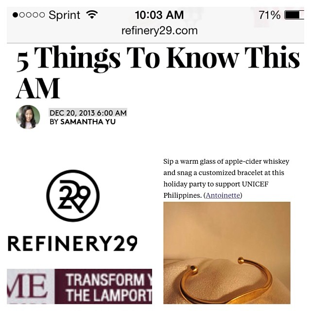 Wow front & center on @refinery29 today! Thanks for the ❤️ & support always guys!      Come sip on some whiskey & pick up one of these custom ID bracelets (only $20) at our holiday event tomorrow to support @unicefphils 🎄🎅🎐🙏#antoinettevintage  (at Antoinette)