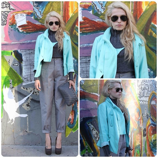 """Week #4 might be one of our Fall/Winter Lookbook faves! Here's what we came up with translating @styledotcom 's """"Pastel Coats"""" into #vintage …1960's Seafoam jacket $85, Early 90's #Express top $42 size small, 80's pant by #JuniorExchange $50 size 9    *Stop in or call the shop for availability on any of these pieces shown 718-387-8664      #antoinettebabesabina #antoinettevintage (at Antoinette)"""
