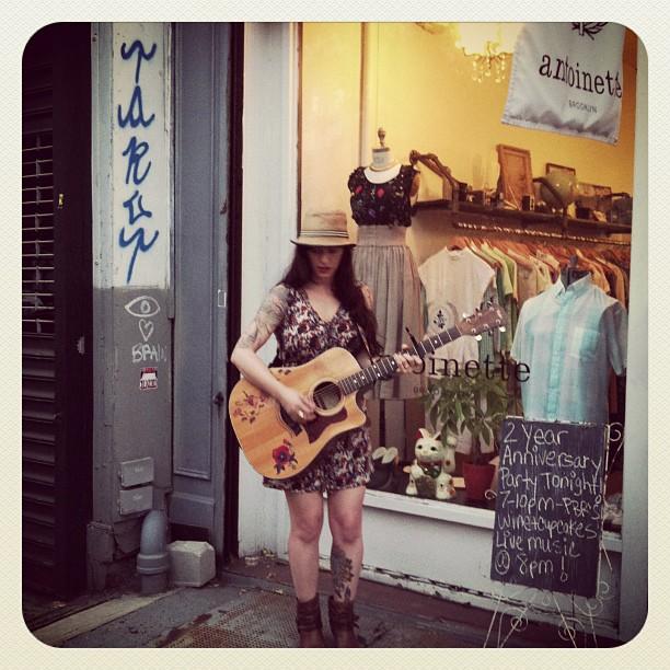 @karenglasstattoo of @bugsinthedark performing ❤🎼🎤 (at Antoinette)