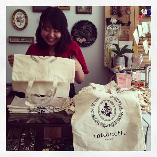 Just got our Spring Edition totes delivered & @cocohitomi is getting them ready for the @vintagecrawl! (at Antoinette)