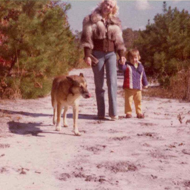 Throwback Thursday pic of my hot Mom, little me & my dog Jacko strolling on our property in NJ (at Antoinette)