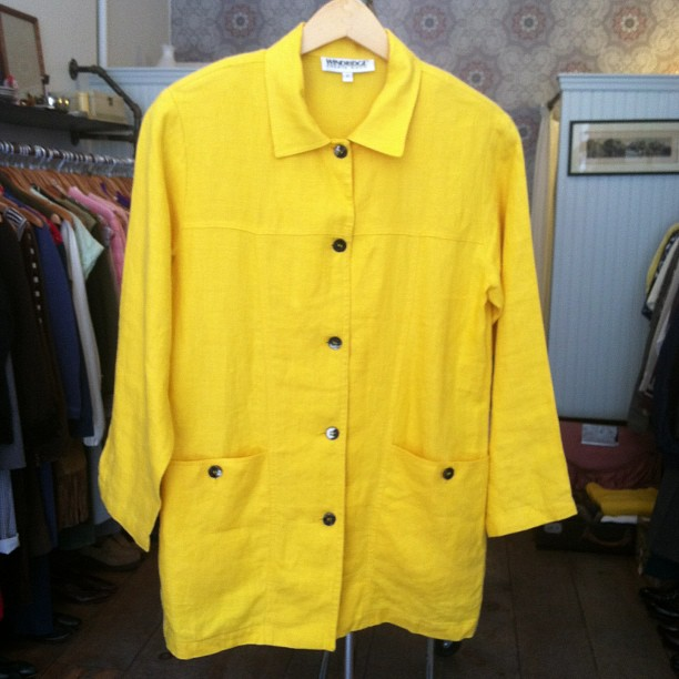 "#vintage 100% linen jkt/top size S $48…tag reads ""winner yellow"" ❤that color name!  (at Antoinette)"