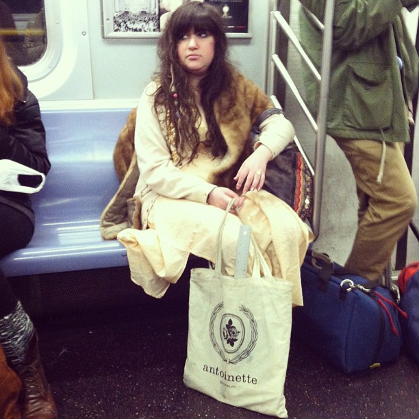"We ❤ when our customers send us ""subway sneak  attack"" pics of babes using our tote!  (at Antoinette)"