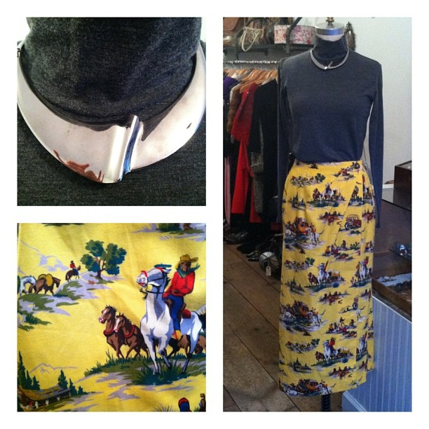 Yee Haw! #vintage 80's comfy fleece #Cowboy print wrap skirt ($50 size M) -Early 90's made in Italy #Gap mock turtle neck cotton shirt ($36 size S) -80's silver tone collar ($68) (at Antoinette)