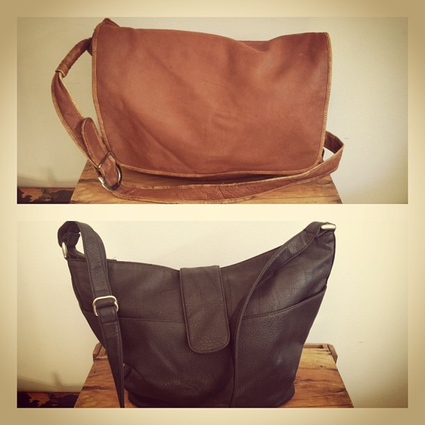 Putting out these #vintage 1980's genuine leather bags today -top messenger $52 bottom shoulder bag $45 (at Antoinette)
