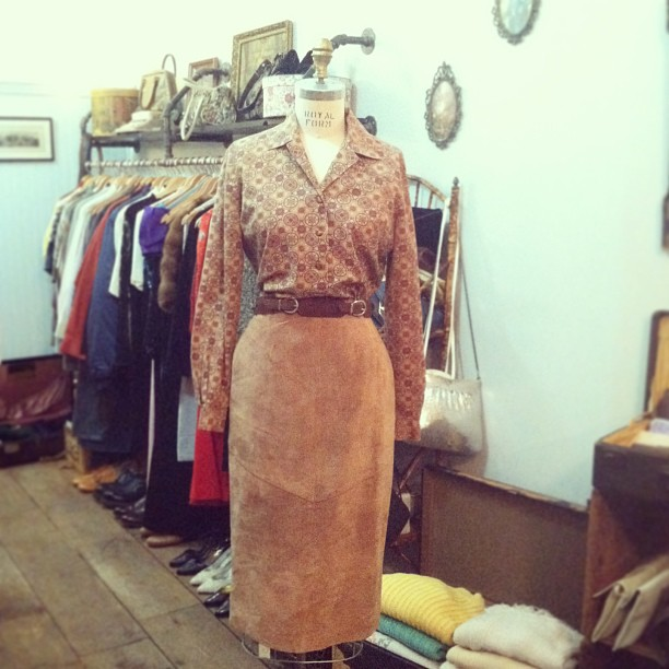 Putting this in the window for the weekend…giddy up! Vintage print Top $40, Lord & Taylor suede skirt $75 (at Antoinette)
