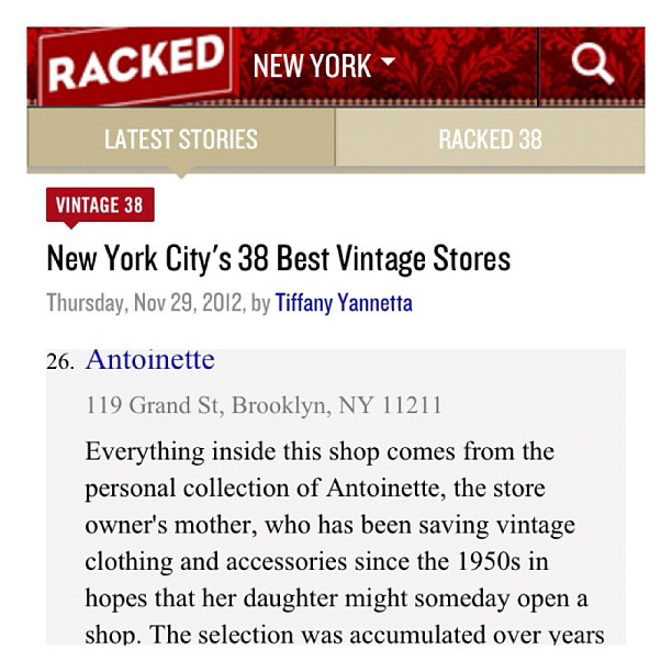 Results for this year's #rackedny New York City's 38 Best #Vintage Stores -The shop is #26! 👑 (at Antoinette)