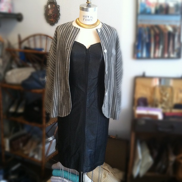 Putting in the window today vintage leather zip-up dress $100, super rare Tamotsu Jacket $80, gold chocker $68 #vintage  (at Antoinette)