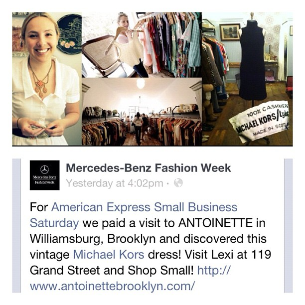 What an honor to be mentioned by Mercedes Benz Fashion Week for Small Business Saturday! #mercedesbenzfashionweek#fashionweek #smallbusinesssaturday #vintage  (at Antoinette)