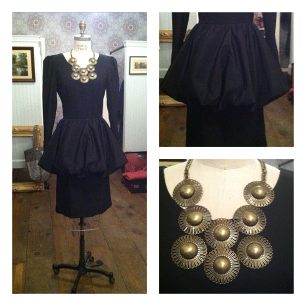 We seriously don't think this stunner needs an introduction…vintage peplum dress $100 , necklace $68 (at Antoinette)