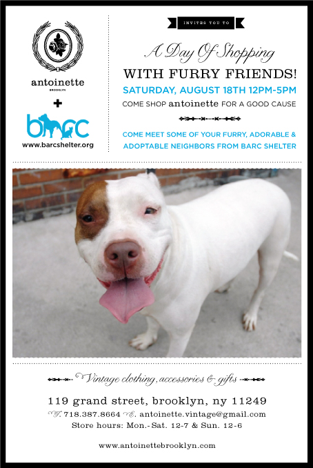 Please come to the shop on August 18th from 12-5pm.      Antoinette  is having another event with our local no kill animal shelter  Brooklyn Animal Resource Coalition (BARC Shelter) .      There will be dogs in & out of the shop to meet & also some kitty's to see over at BARC.     We'll be serving cold alcoholic & non alcoholic beverages plus, take 10% off Everything in store!