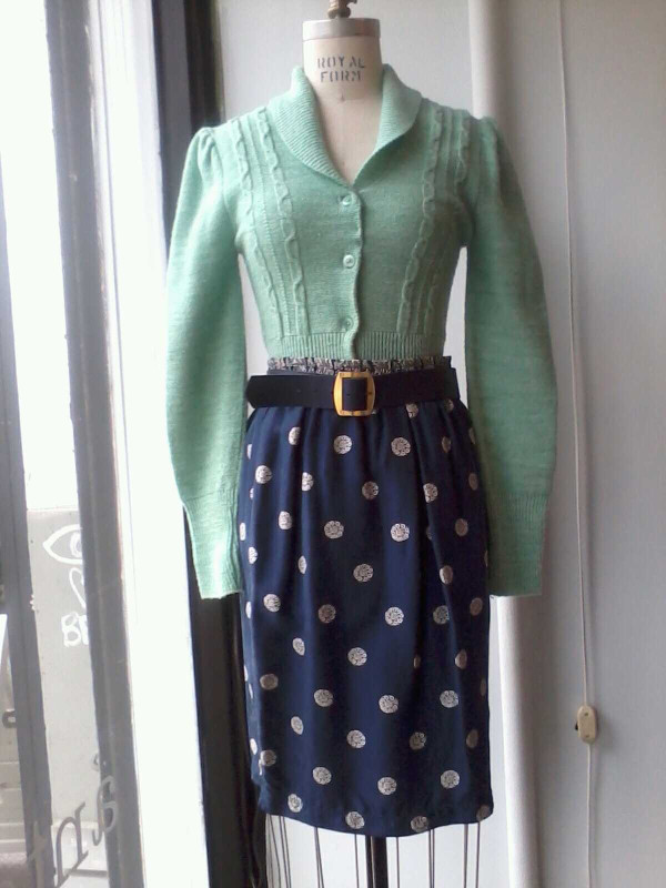 This vintage mint sweater is so adorbs & is looking perfect in the window! Sweater $45 Skirt $50 Belt $18