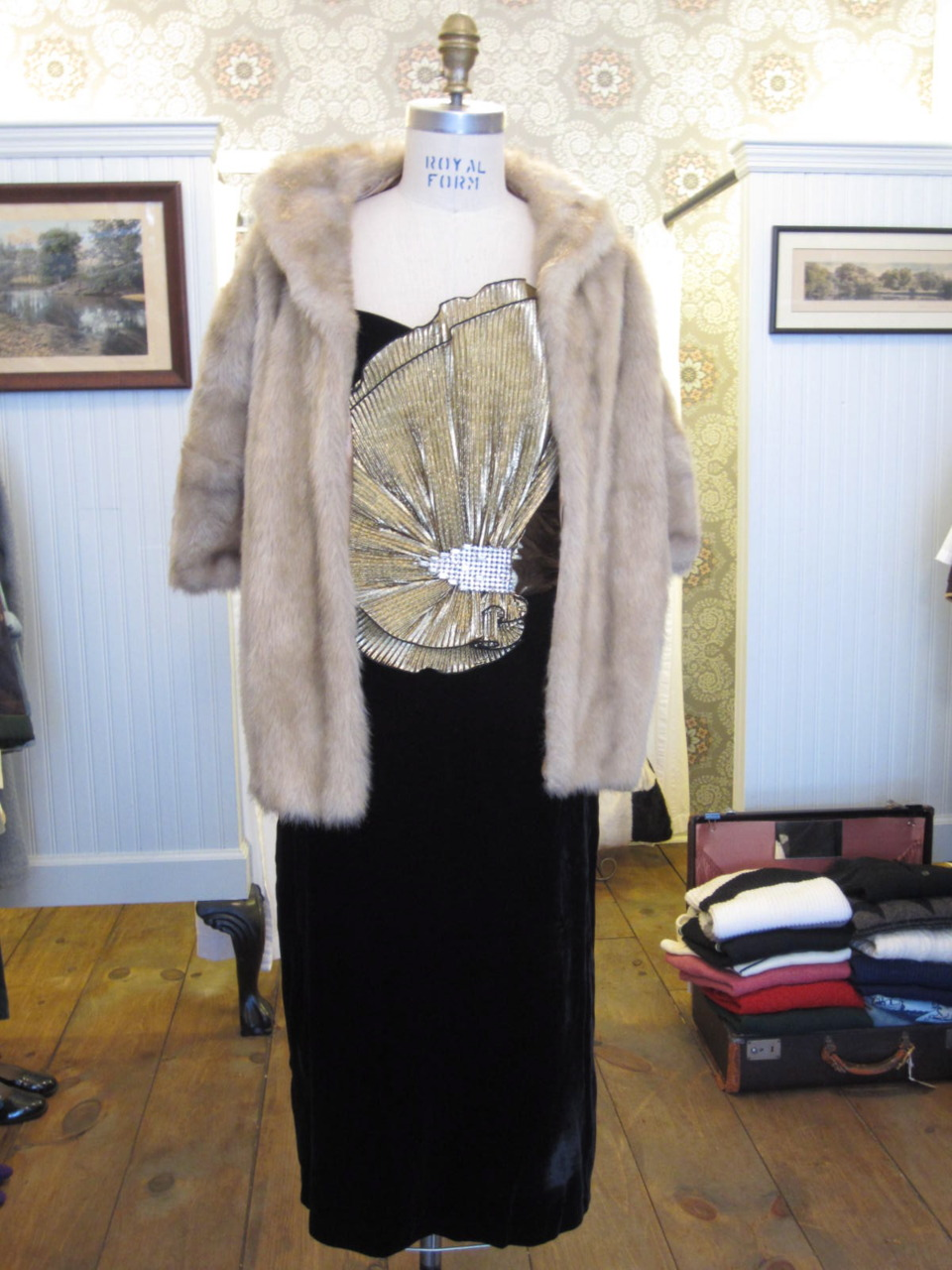 Vintage 60's Winter Cape in Faux Fur along with this 80's Velvet Fan Dress- just in time to keep you warm for NYE!