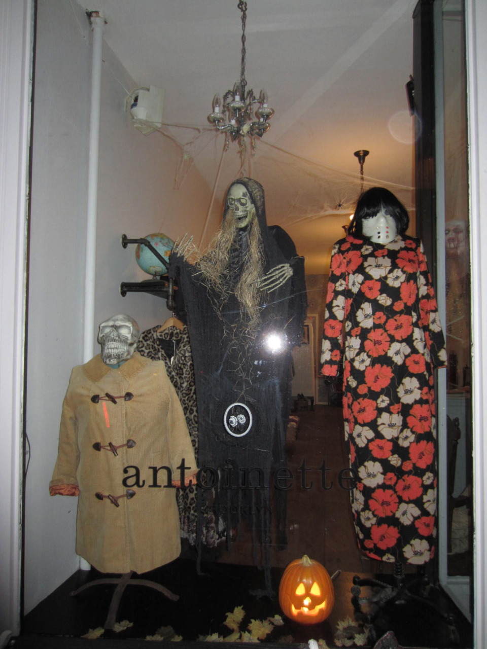 Halloween window for antoinette! In honor of this great holiday we will be open from 12-5pm so come get your shopping & trick or treating on! Happy Halloween!