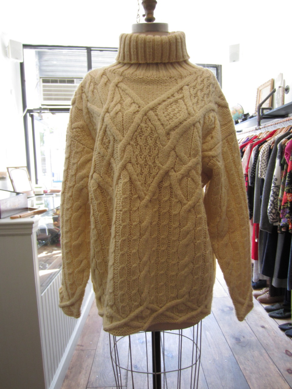 "brooklynvintagecrawl: More from Antoinette: Got to love a chunky ""Brunch Sweater"" - 1990s Gap Exaggerated Cable knit is $68"