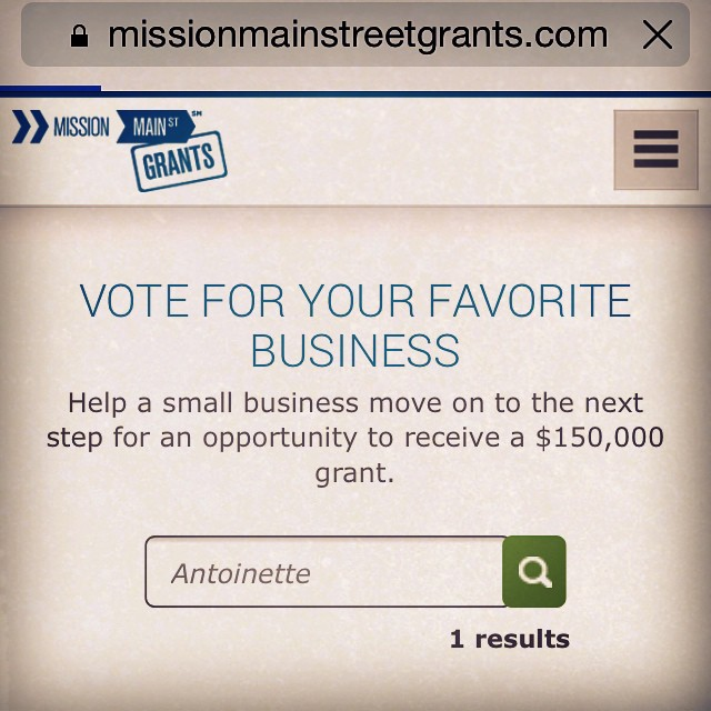 Hey Antoinette Babes,   We need your help by voting for us…Chase/Google is giving away grants to support 20 Small Businesses.   It only takes 4.5 seconds to go here  https://www.missionmainstreetgrants.com/business/detail/43371  & type in Antoinette, click Vote & you're done!   Promise no signing up/personal info. needed.  Thank you for your support!