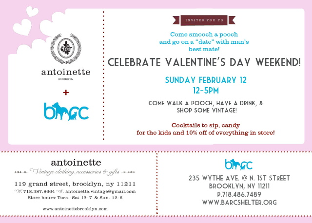 Join   Brooklyn Animal Resource Coalition (BARC Shelter)   and  Antoinette    this Sunday, February 12th from 12-5PM for a Valentine's Meet and Greet.       Come shop some vintage, have a drink and walk a BARC dog while meeting new people…Perhaps your Valentine!!??