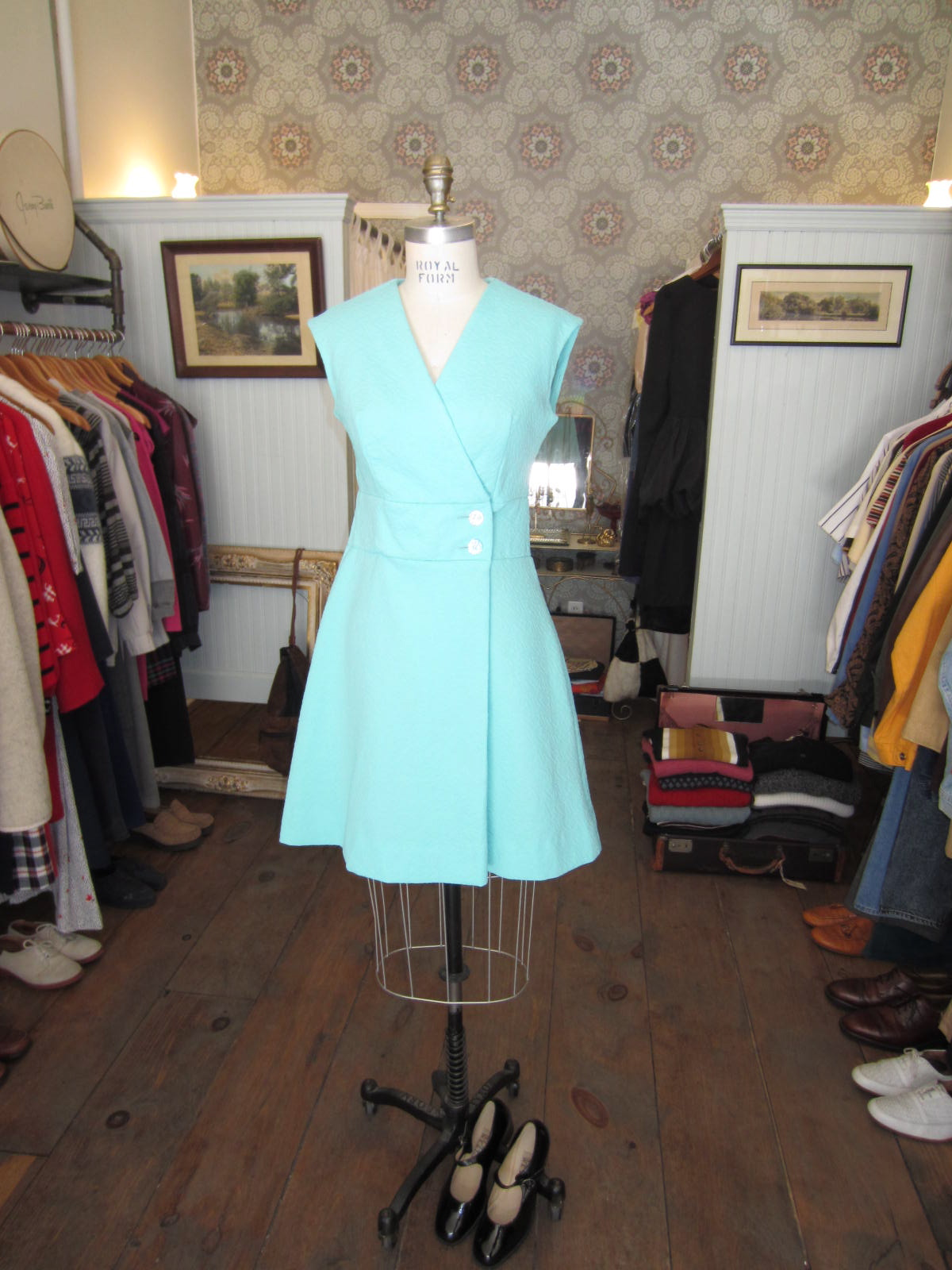 Getting ready to put this 60's Mint beauty in the window today!      Dress-$70   Mary Janes-$30