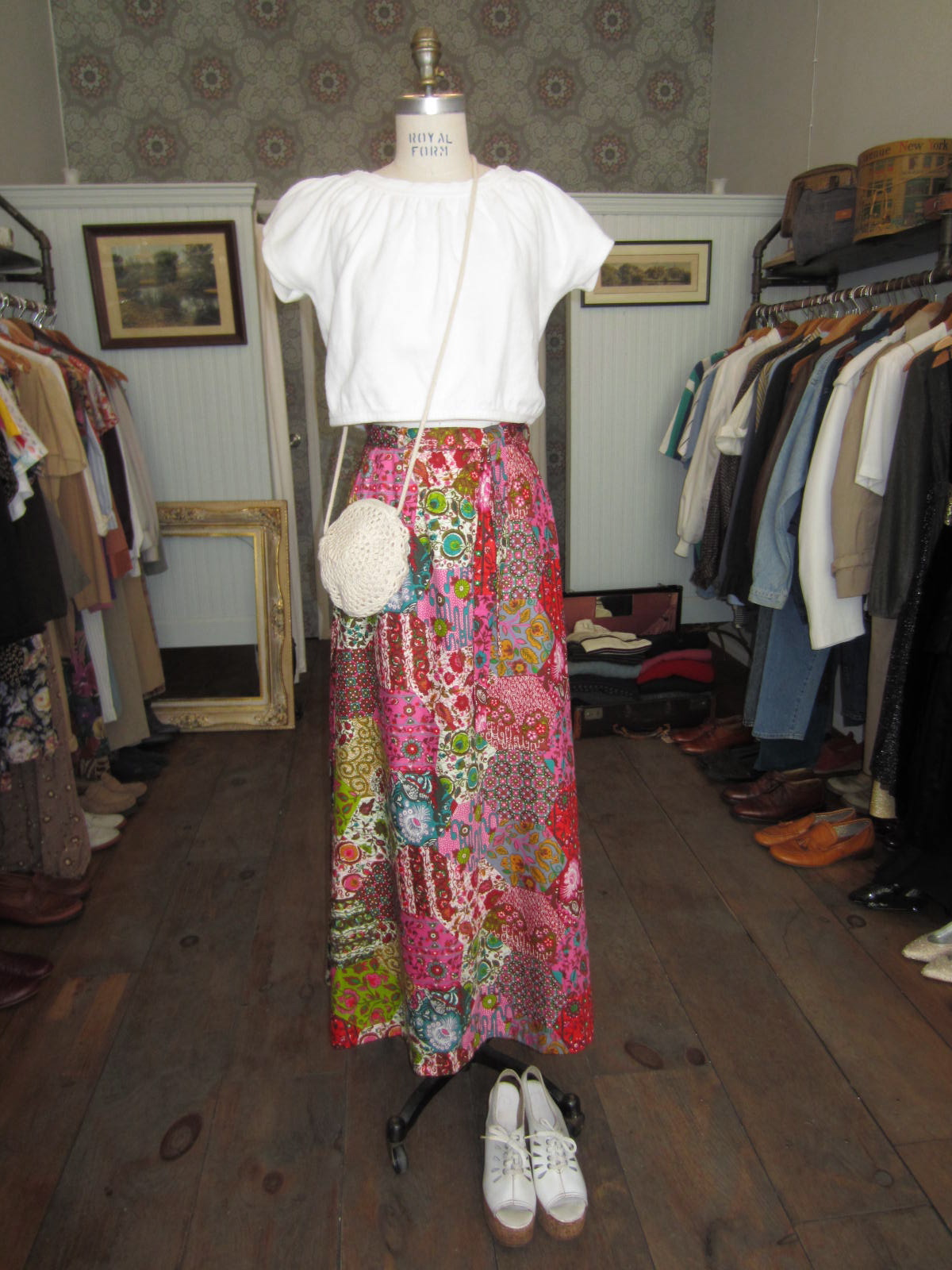 Get psychedlic this summer!       vintage maxi $65 - crop top $45-wedges $65 & bag $38