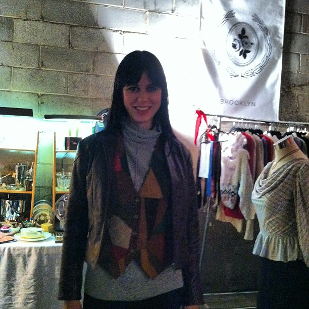 @julie_rules stopped by the booth & picked up some sweet patchwork (at Brooklyn Night Bazaar)