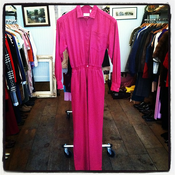 Ahhmazing #vintage cranberry rose jumpsuit 100% silk $68 size small (at Antoinette)