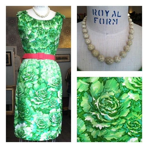 My Grandmother's #vintage 1950's dress…St. Patty's Day Perfection! Dress $80, 1950's necklace $40, belt $25 (at Antoinette)