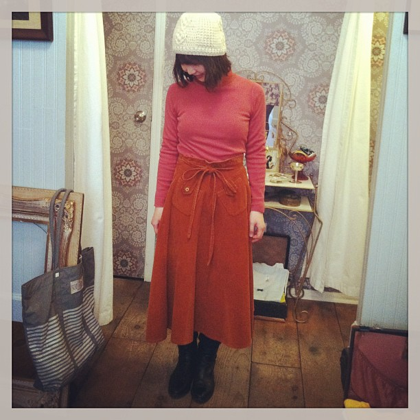Marina from Japan trying on our #vintage 1970's corduroy wrap skirt (at Antoinette)