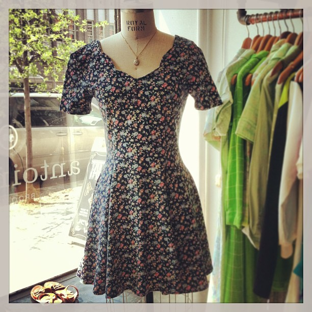 Adorbs #vintage late 80's floral dress $48 (size S) pendant necklace $45 (at Antoinette)