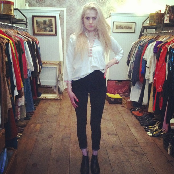 This gorgeous babe Sabina just picked up Mom's #vintage 1970's boho top (at Antoinette)