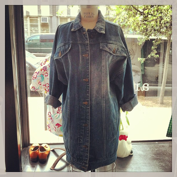 Pretty sweet #vintage 1980's denim jacket dress -tag reads size small but since it's oversized can def fit medium $98 (at Antoinette)