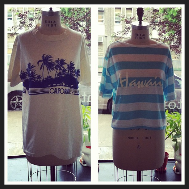 Rainy days like this make us wanna be here! #vintage men's #California tee size M $40, women's #hawaii cropped tee size O/S $42 (at Antoinette)