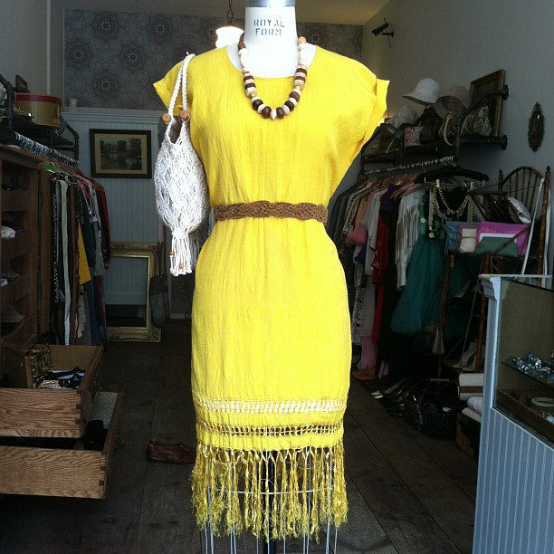 Putting this in the window! #vintage Silk shantung bohemian dress $70 size S, Belt $20, Bag $48, Wooden necklace $45 (at Antoinette)