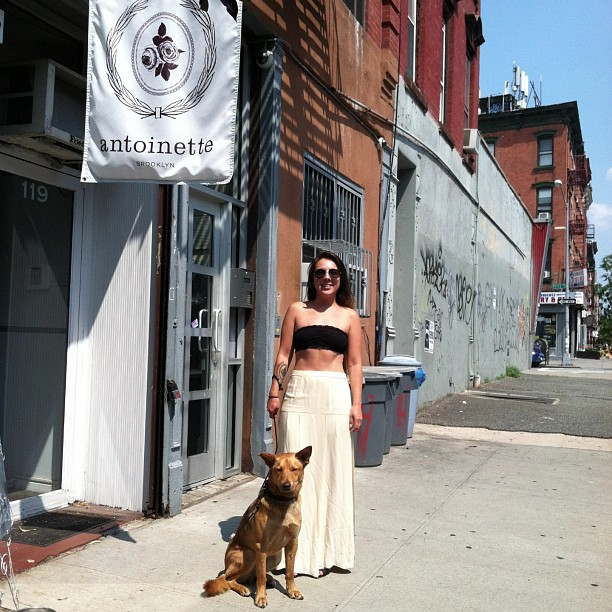 Come say hi to #redthedogfrombrooklyn at the shop today…we have AC too!  (at Antoinette)