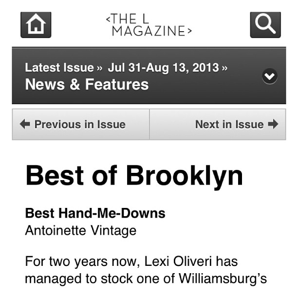 Thanks for the ❤ @brooklynmagazine @virginiaks ! Be sure to pick up this week's issue of #LMagazine #BestofBrooklyn2013 (at Antoinette)