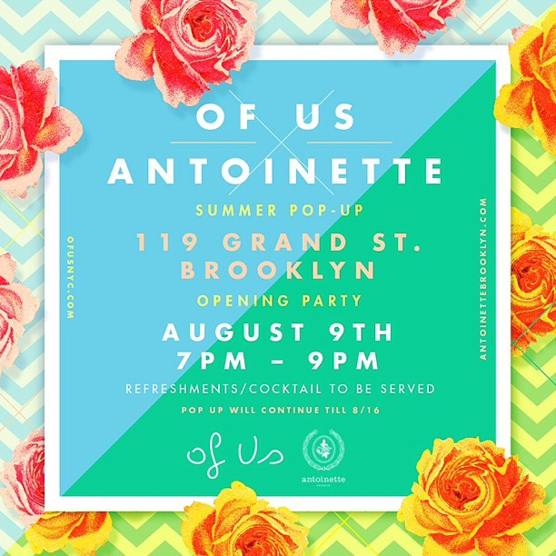 Come join us for our biggest Pop-Up yet…The #babes from @ofusnyc @larahodulick @chantalmichelle are setting up shop next Friday, August 9th-Opening Reception 7-9pm w/Cocktails & a Live DJ! #antoinettevintage #OfUs #brooklyn #williamsburg  (at Antoinette)