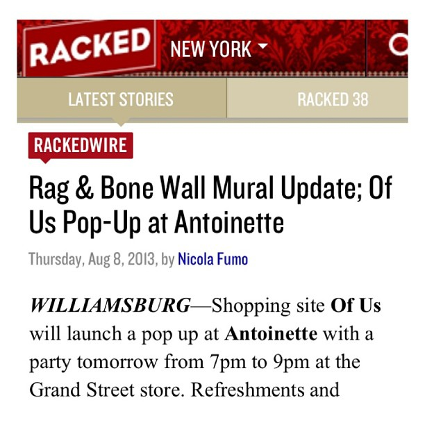Check out tonight's @ofusnyc pop-up mentioned on @rackedny ! Thanks always for the ❤ #rackedny #antoinettevintage #ofus #brooklyn (at Antoinette)