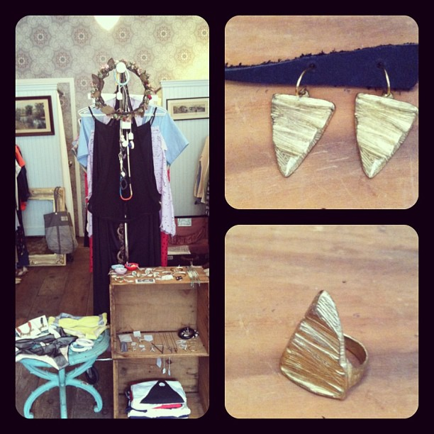 Today is the last day for the @ofusnyc Pop-up! Loving these gold plated pieces of art by @nettiekentjewel (at Antoinette)