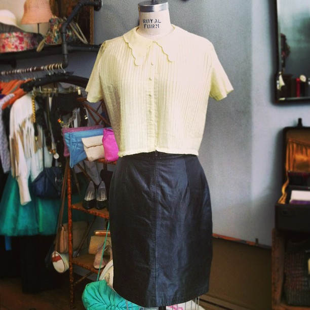 Love mixing decades #vintage 1960's pleated sheer soft yellow crop button shirt $60 size fits M-L , #vintage early 1990's #AndrewMarc 100% Leather Black Pencil Skirt $90 size 8 #antoinettevintage (at Antoinette)
