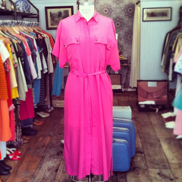 Perfect shade of pink #vintage early 1980's shirt dress by #DianShanLake 100%silk $72 fits size S-L #antoinettevintage  (at Antoinette)