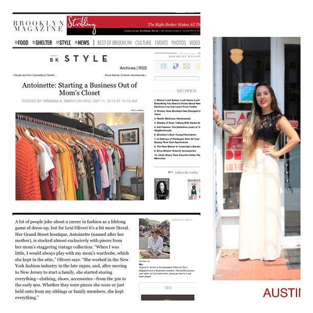 The highest honor of all is to be featured in @brooklynmagazine ! Here's a few snapshots of the online story on the shop- Go out & get a copy to read about this year's Brooklyn 20! Antoinette is #1! The new issue is in stores now! #antoinettevintage #brooklyn #brooklyn20 #williamsburg  (at Antoinette)