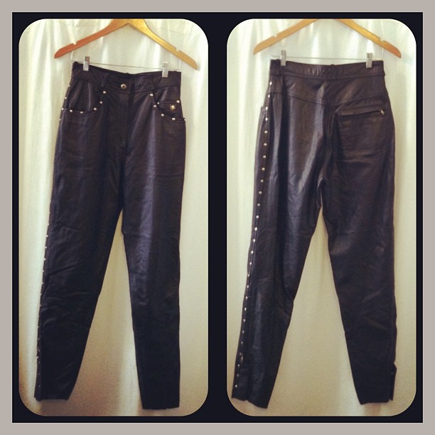These badass #vintage early 1990's #HarleyDavidson genuine leather studded lower side zip pants size W 38/10 $95 #antoinettevintage (at Antoinette)